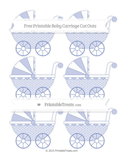 Free Pastel Dark Blue Fish Scale Pattern Small Baby Carriage Cut Outs