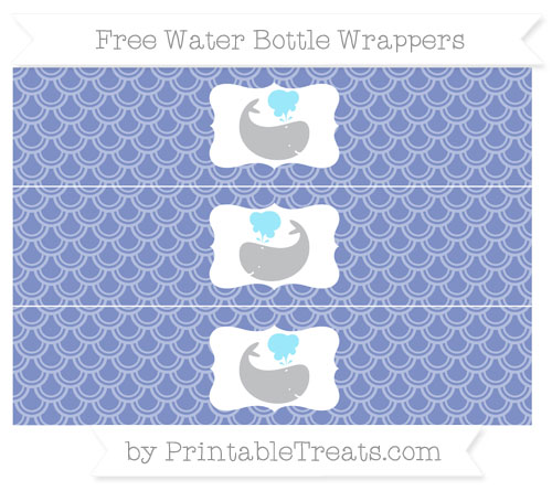 Free Pastel Dark Blue Fish Scale Pattern Whale Water Bottle Wrappers