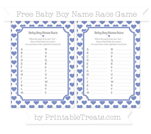 Free Pastel Dark Blue Heart Pattern Baby Boy Name Race Game