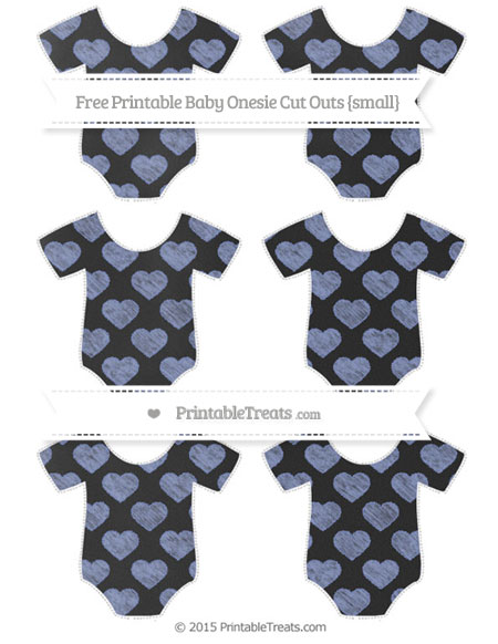 Free Pastel Dark Blue Heart Pattern Chalk Style Small Baby Onesie Cut Outs