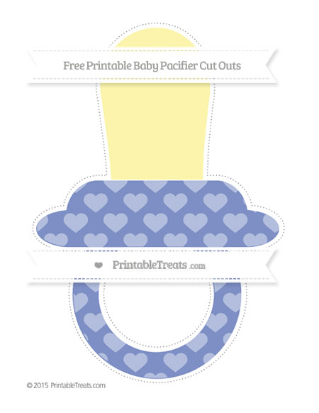 Free Pastel Dark Blue Heart Pattern Extra Large Baby Pacifier Cut Outs