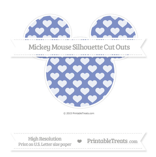 Free Pastel Dark Blue Heart Pattern Extra Large Mickey Mouse Silhouette Cut Outs
