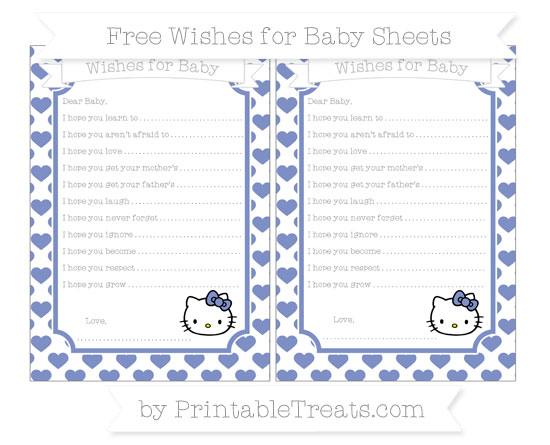 Free Pastel Dark Blue Heart Pattern Hello Kitty Wishes for Baby Sheets