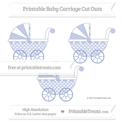 Free Pastel Dark Blue Heart Pattern Medium Baby Carriage Cut Outs