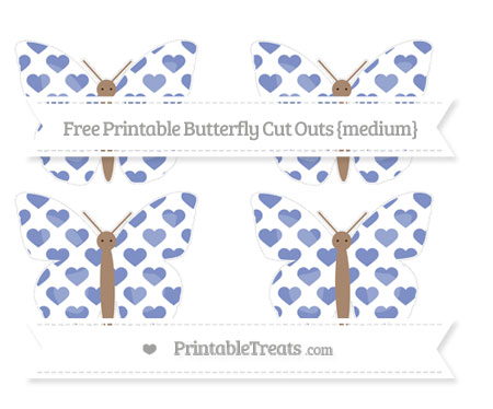 Free Pastel Dark Blue Heart Pattern Medium Butterfly Cut Outs