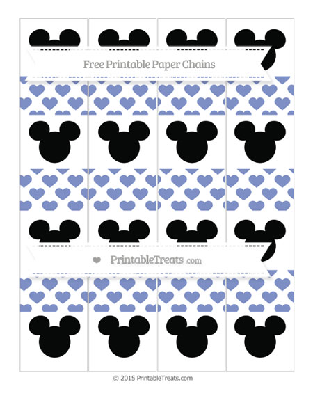 Free Pastel Dark Blue Heart Pattern Mickey Mouse Paper Chains