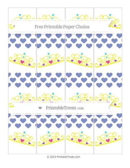 Free Pastel Dark Blue Heart Pattern Princess Tiara Paper Chains