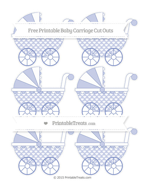 Free Pastel Dark Blue Heart Pattern Small Baby Carriage Cut Outs