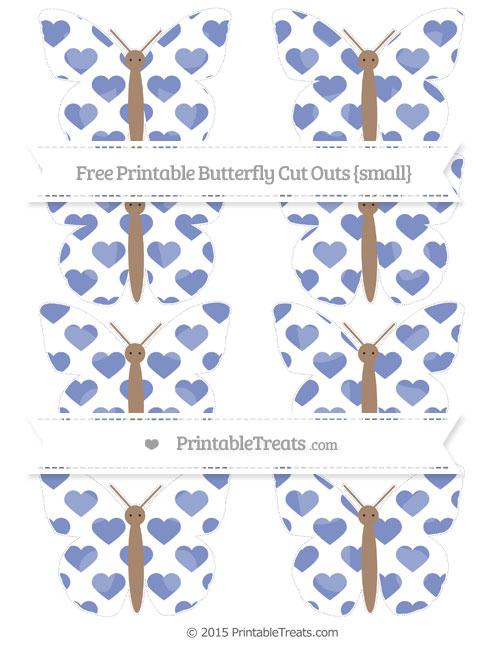 Free Pastel Dark Blue Heart Pattern Small Butterfly Cut Outs