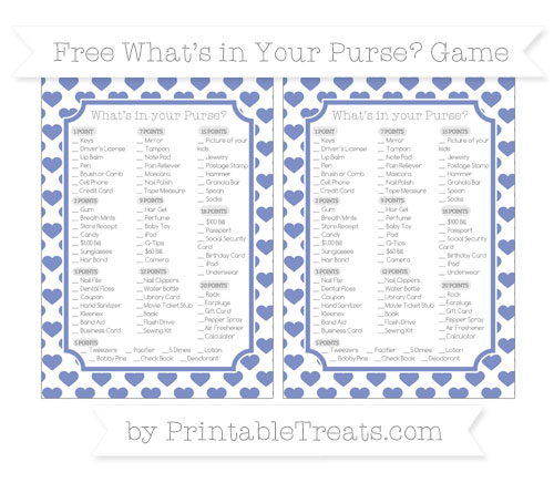Free Pastel Dark Blue Heart Pattern What's in Your Purse Baby Shower Game