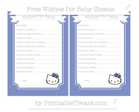 Free Pastel Dark Blue Hello Kitty Wishes for Baby Sheets