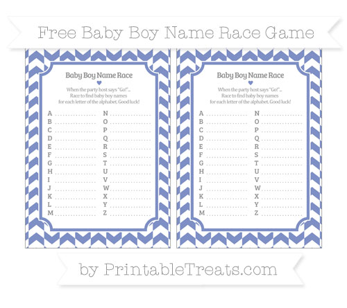 Free Pastel Dark Blue Herringbone Pattern Baby Boy Name Race Game