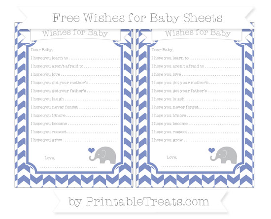 Free Pastel Dark Blue Herringbone Pattern Baby Elephant Wishes for Baby Sheets