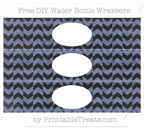 Free Pastel Dark Blue Herringbone Pattern Chalk Style DIY Water Bottle Wrappers