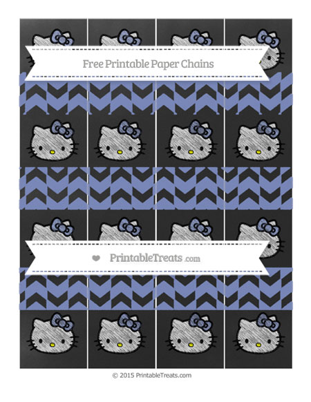 Free Pastel Dark Blue Herringbone Pattern Chalk Style Hello Kitty Paper Chains