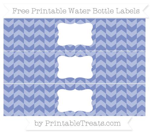 Free Pastel Dark Blue Herringbone Pattern Water Bottle Labels