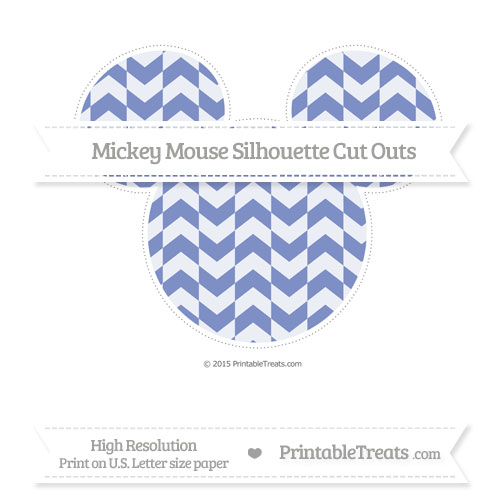 Free Pastel Dark Blue Herringbone Pattern Extra Large Mickey Mouse Silhouette Cut Outs