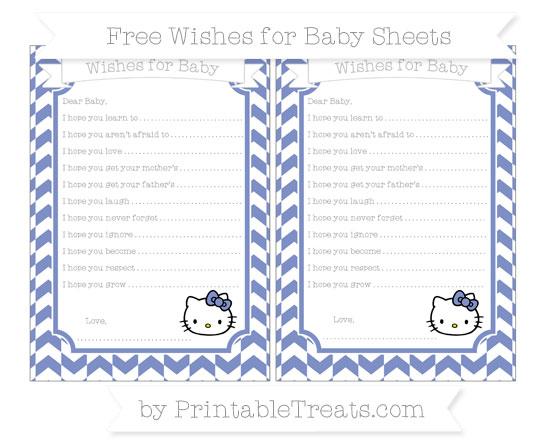 Free Pastel Dark Blue Herringbone Pattern Hello Kitty Wishes for Baby Sheets