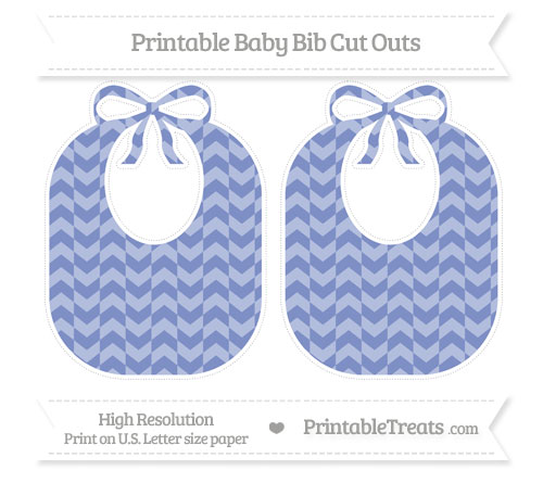 Free Pastel Dark Blue Herringbone Pattern Large Baby Bib Cut Outs