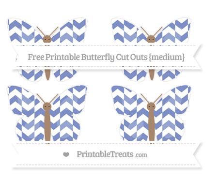 Free Pastel Dark Blue Herringbone Pattern Medium Butterfly Cut Outs