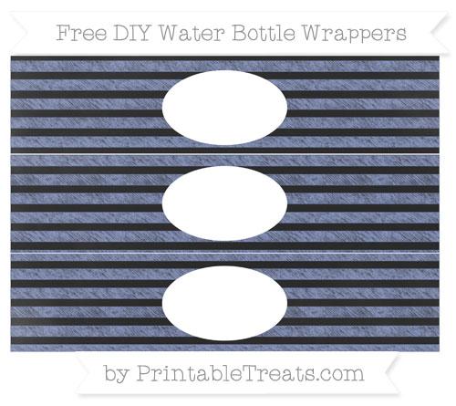 Free Pastel Dark Blue Horizontal Striped Chalk Style DIY Water Bottle Wrappers