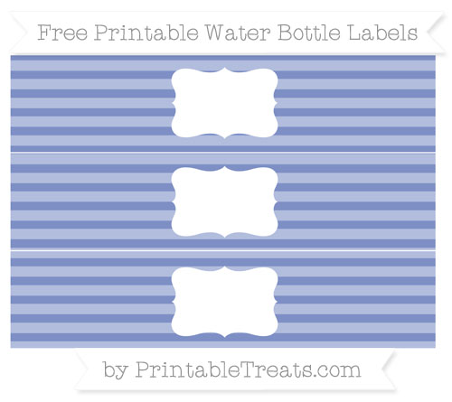 Free Pastel Dark Blue Horizontal Striped Water Bottle Labels