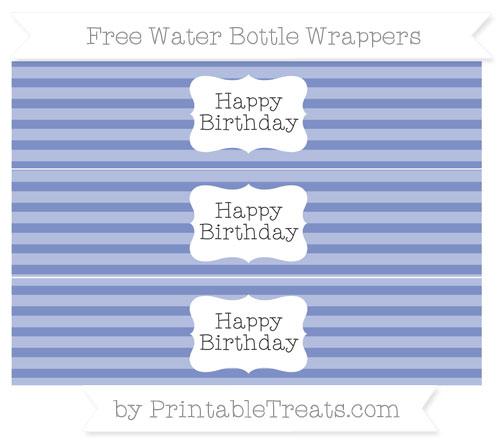 Free Pastel Dark Blue Horizontal Striped Happy Birhtday Water Bottle Wrappers
