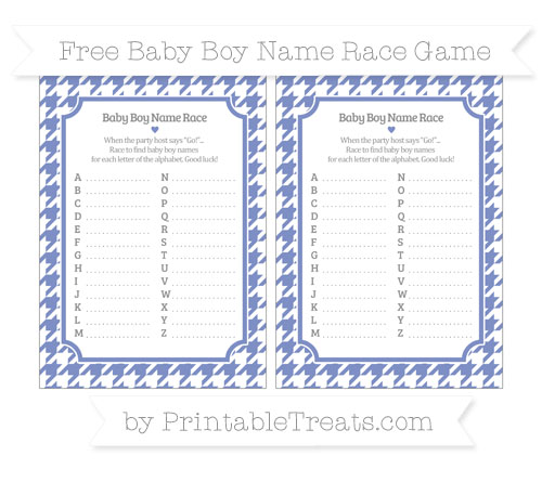 Free Pastel Dark Blue Houndstooth Pattern Baby Boy Name Race Game