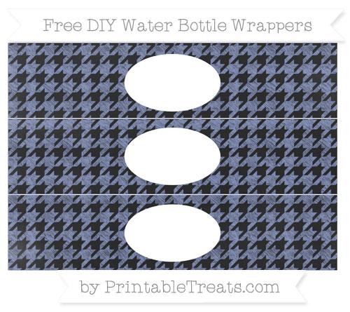 Free Pastel Dark Blue Houndstooth Pattern Chalk Style DIY Water Bottle Wrappers