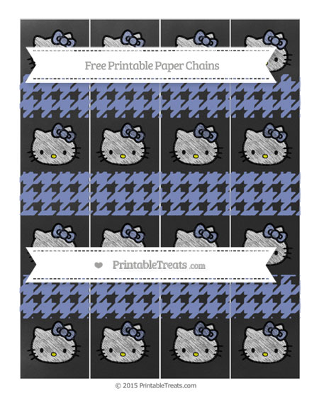 Free Pastel Dark Blue Houndstooth Pattern Chalk Style Hello Kitty Paper Chains