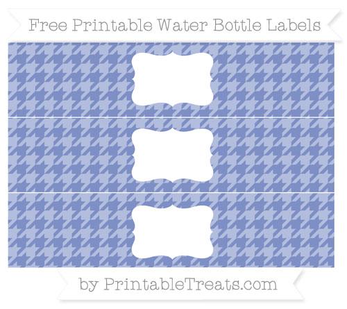 Free Pastel Dark Blue Houndstooth Pattern Water Bottle Labels