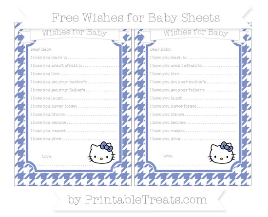 Free Pastel Dark Blue Houndstooth Pattern Hello Kitty Wishes for Baby Sheets