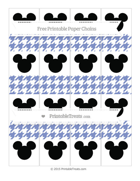 Free Pastel Dark Blue Houndstooth Pattern Mickey Mouse Paper Chains