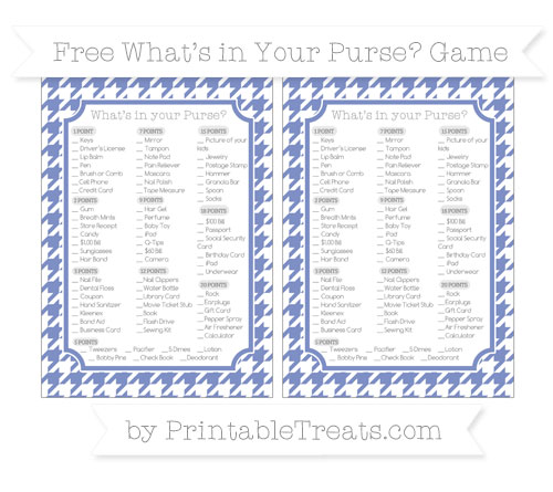 Free Pastel Dark Blue Houndstooth Pattern What's in Your Purse Baby Shower Game
