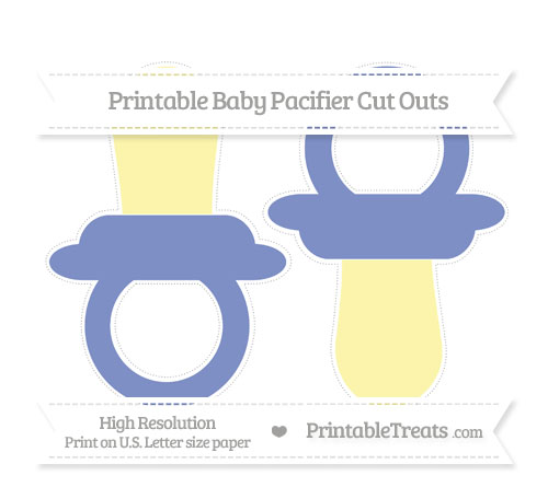 Free Pastel Dark Blue Large Baby Pacifier Cut Outs