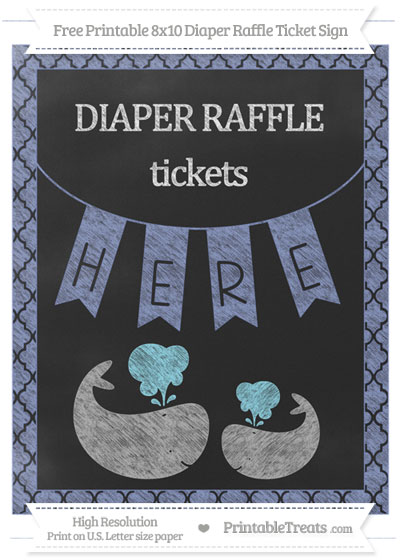 Free Pastel Dark Blue Moroccan Tile Chalk Style Baby Whale 8x10 Diaper Raffle Ticket Sign