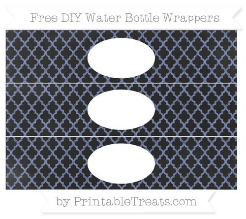 Free Pastel Dark Blue Moroccan Tile Chalk Style DIY Water Bottle Wrappers
