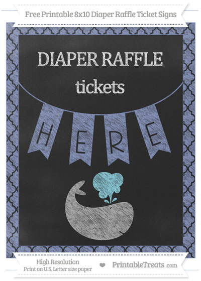 Free Pastel Dark Blue Moroccan Tile Chalk Style Whale 8x10 Diaper Raffle Ticket Sign