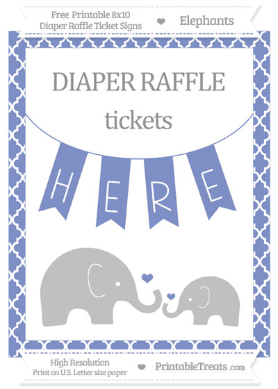 Free Pastel Dark Blue Moroccan Tile Elephant 8x10 Diaper Raffle Ticket Sign