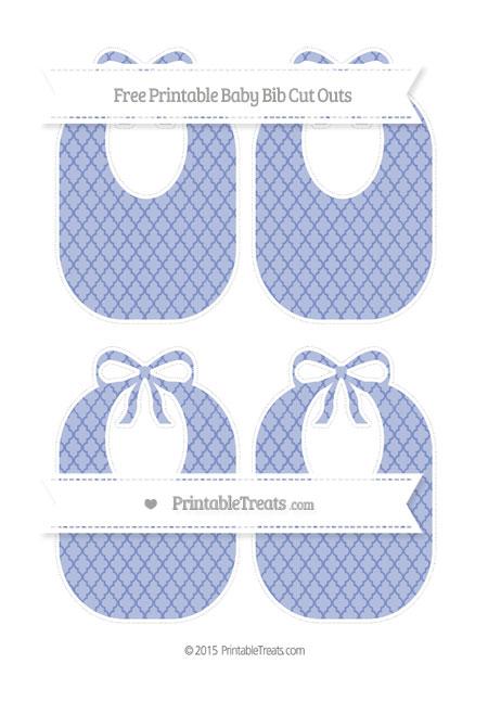 Free Pastel Dark Blue Moroccan Tile Medium Baby Bib Cut Outs