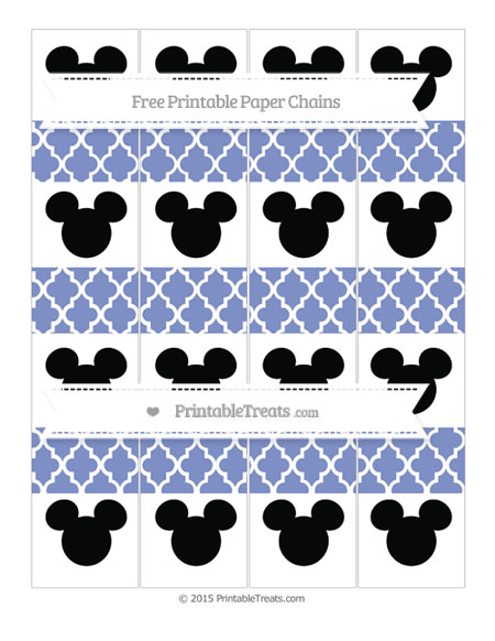 Free Pastel Dark Blue Moroccan Tile Mickey Mouse Paper Chains