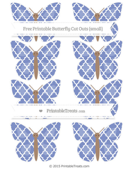 Free Pastel Dark Blue Moroccan Tile Small Butterfly Cut Outs