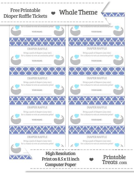 Free Pastel Dark Blue Moroccan Tile Whale Diaper Raffle Tickets