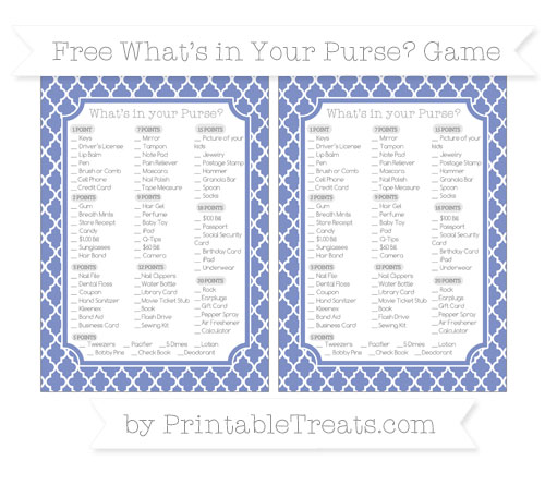 Free Pastel Dark Blue Moroccan Tile What's in Your Purse Baby Shower Game