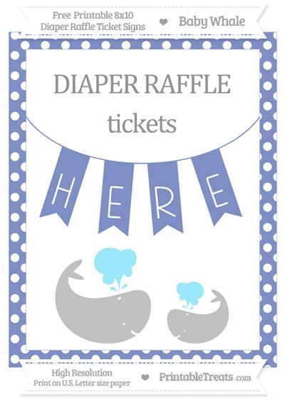Free Pastel Dark Blue Polka Dot Baby Whale 8x10 Diaper Raffle Ticket Sign