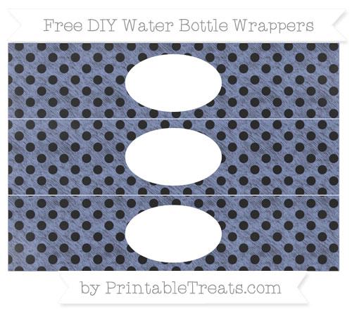 Free Pastel Dark Blue Polka Dot Chalk Style DIY Water Bottle Wrappers