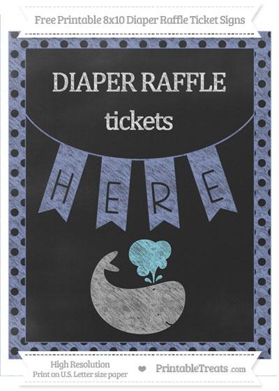 Free Pastel Dark Blue Polka Dot Chalk Style Whale 8x10 Diaper Raffle Ticket Sign