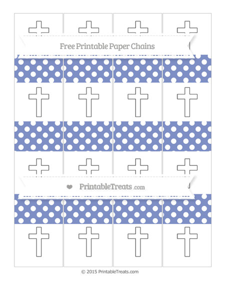 Free Pastel Dark Blue Polka Dot Cross Paper Chains