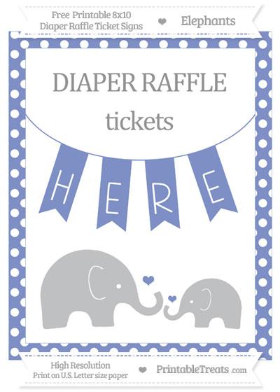 Free Pastel Dark Blue Polka Dot Elephant 8x10 Diaper Raffle Ticket Sign