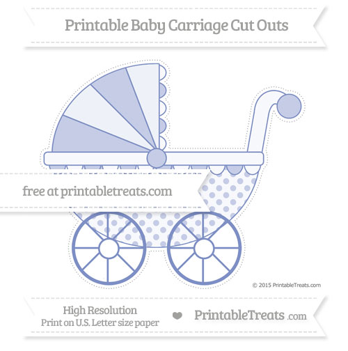 Free Pastel Dark Blue Polka Dot Extra Large Baby Carriage Cut Outs